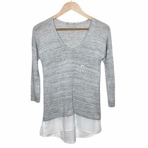 Express Space Dye 3/4 Sleeve Knit Top Gray Size XS